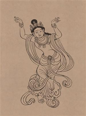 莫高窟112窟中唐舞伎菩萨绘画图片