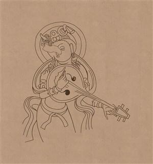 莫高窟敦煌壁画线描人物稿弹琵琶的佛祖中国风图片
