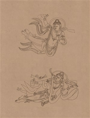 高清莫高窟敦煌壁画线描人物稿中国风图片