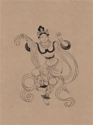 莫高窟468窟晚唐舞伎菩萨中国风图片