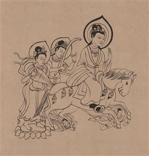 莫高窟397窟隋代伎乐菩萨骑马菩萨和后面一对唱弹的仙女中国风图片