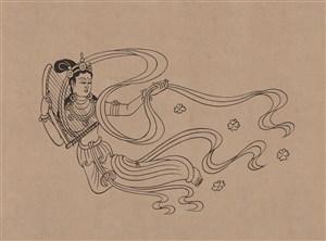 莫高窟329窟初唐飞天伎乐仙女散花中国风图片