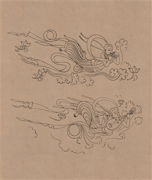 莫高窟329窟初唐飞天伎乐一对菩萨散花中国风图片