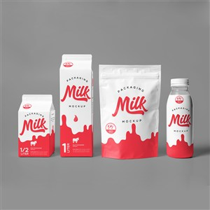 牛奶包装袋包装盒包装瓶贴图样机