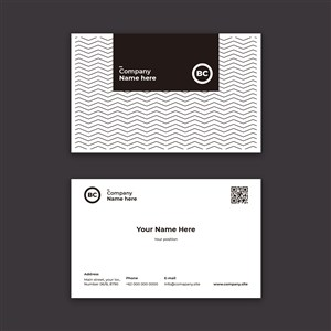 黑白线条极简名片模板下载