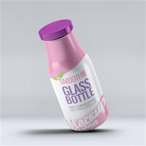 悬浮向左倾斜的果汁瓶饮料瓶玻璃瓶包装贴图样机