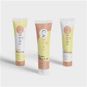 护手霜防晒霜洗面奶化妆品护肤品包装贴图样机