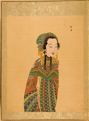 清代宫廷画师京剧人物公主脸谱绘画图片