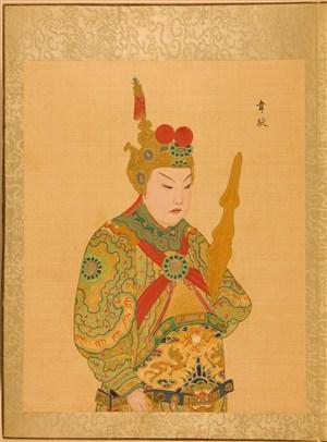 清代宫廷画师京剧人物韦驮脸谱绘画图片