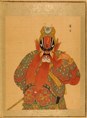 清代宫廷画师京剧人物灵官脸谱绘画图片