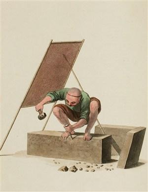古代人物石雕工匠生活绘画图片