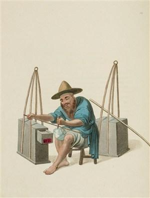 古代人物补碗工生活绘画图片