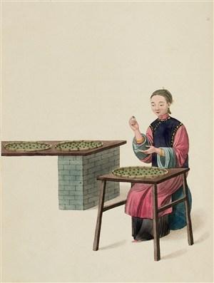 古代人物制药丸生活绘画图片