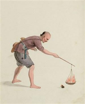 古代人物放火玩耍生活绘画图片