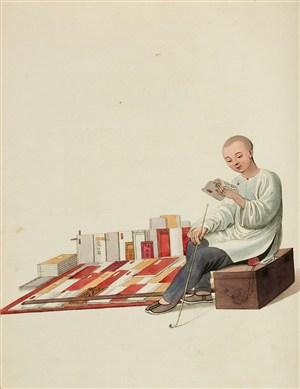 古代人物卖书人生活绘画图片