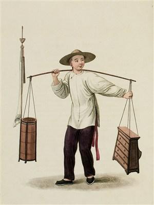 古代人物卖货贩生活绘画图片