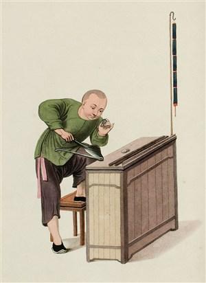 古代人物验石师傅生活绘画图片