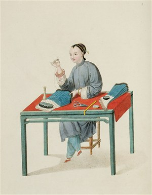 古代人物缝补袜子的女子生活绘画图片