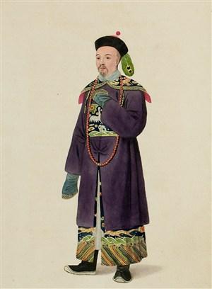 古代清朝官员人物生活绘画图片