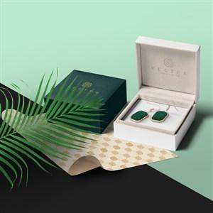 珠宝店vi耳钉包装纸包装盒贴图样机