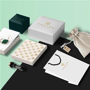 饰品手提袋包装盒布袋珠宝店vi贴图样机