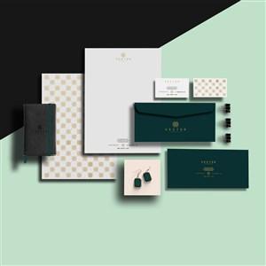 珠宝店vi文档信封名片包装盒本子贴图样机