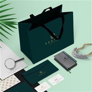 珠宝店vi手提袋宣传单信封名片贴图样机