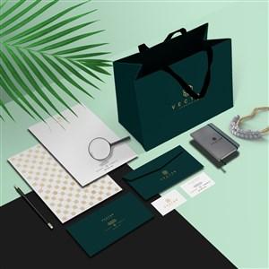 珠宝店vi宣传单邀请函名片手提袋贴图样机