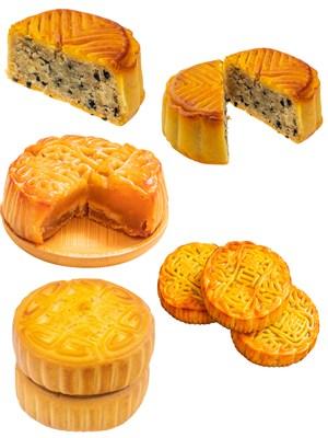 芝麻花生月饼PNG美食图片素材