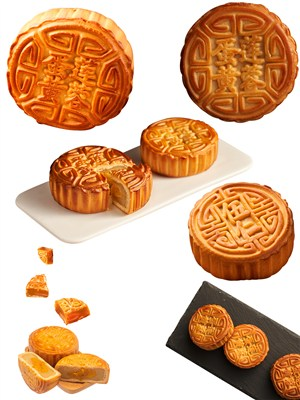 莲蓉蛋黄月饼美食PNG图片