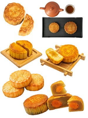蛋黄莲蓉月饼PNG美食素材图片