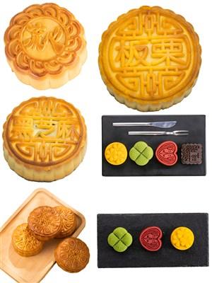板栗流心月饼美食中秋节PNG图片