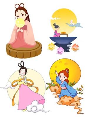 可爱卡通手绘插画中秋节日嫦娥奔月绘画图片