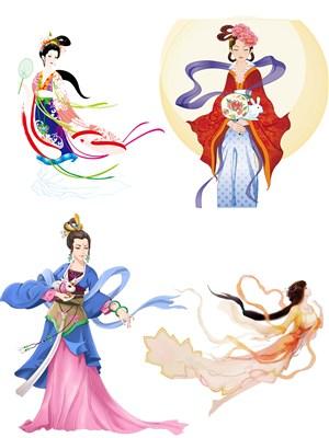 传统神话人物嫦娥手绘插画PNG素材图片