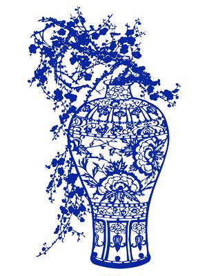 窗花梅花国粹青花瓷中国风图片