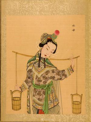 清代宫廷画师京剧人物水母脸谱绘画图片