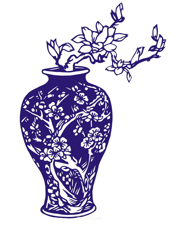 插画花瓶瓷器国粹青花瓷中国风图片