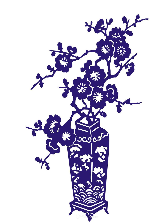 唯美浪花装饰瓷器梅花陶瓷花瓶国粹青花瓷中国风图片