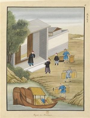 古代造纸步骤纸客起身场景绘画图片