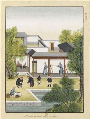 古代造纸步骤买纸客人场景绘画图片