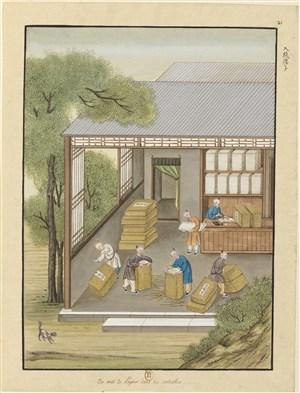 古代造纸步骤入纸搂子场景绘画图片