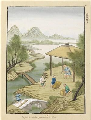 古代造纸步骤场景编纸篓子绘画图片
