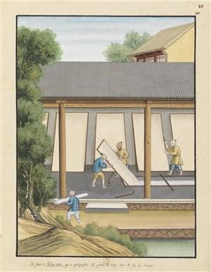 古代造纸步骤场景晒纸片绘画图片