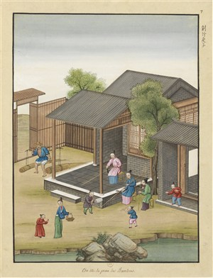 古代造纸步骤场景削竹片子绘画图片