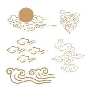 5种传统中式吉祥云纹矢量素材
