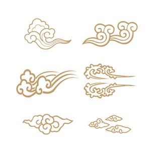 6种中式吉祥云纹矢量素材