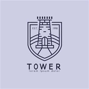 盾牌城楼标志图标矢量logo素材