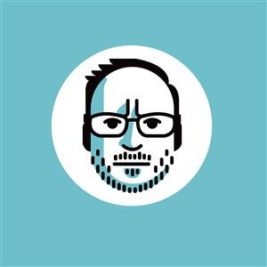男人头标志图标网络科技矢量logo素材
