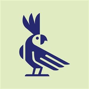 蓝色鸟标志图标服饰时尚矢量logo设计素材