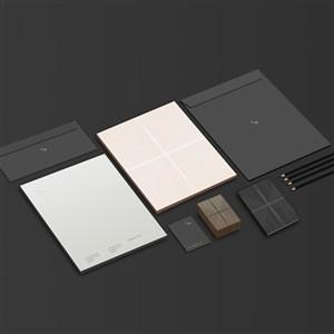 化妆品企业vi信封名片文件袋贴图样机